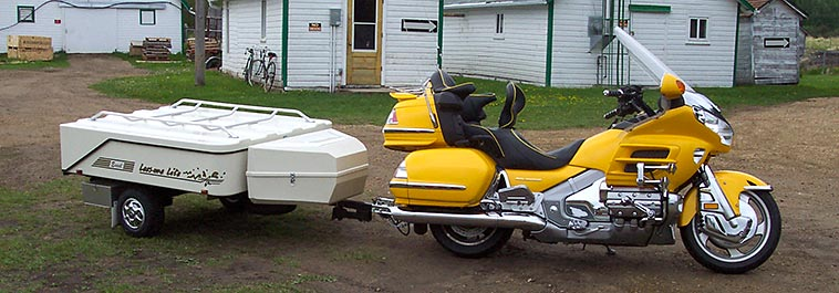 Honda Goldwing with Hitch Installed towing a Lees-ure Lite Trailer