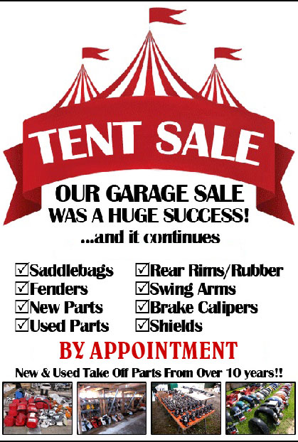 Motorcycle Parts & Accessories Tent Sale